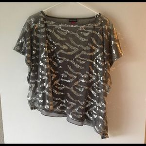 Vince Camuto Gray Silver Sequin Blouse